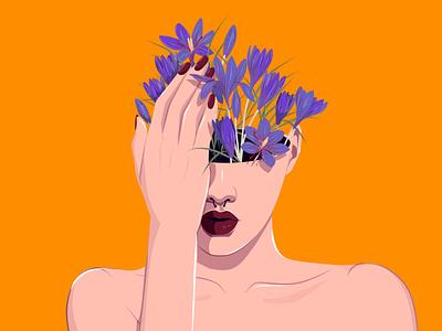 Meadow Saffron vector flat floral art nina aubersek blossoming thoughts colorful artwork vector illustration illustration flowers