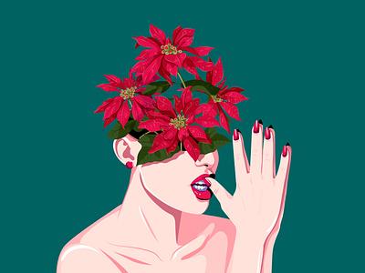 Poinsettia artist flat blossoming thoughts nina aubersek flowers artwork colorful vector illustration illustration christmas star flower christmas