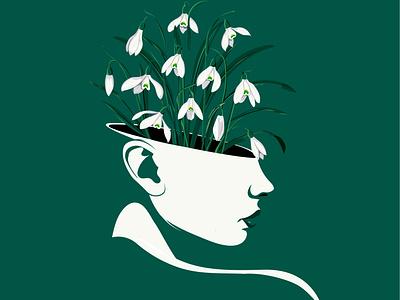 Snowdrops in green floral art artist floral design vector nina aubersek colorful flowers vector illustration artwork illustration
