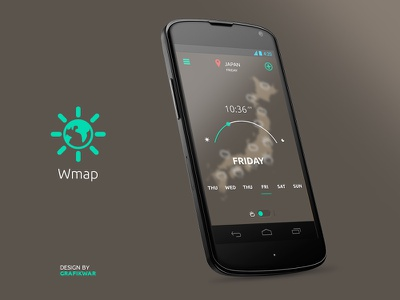 Wmap Preview — Time laps app ui ux flat application simple android weather meteo icons wip user interface