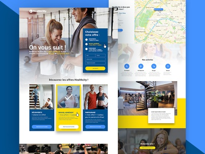 HealthCity — Landing page landing page forms colorfull webdesign responsive grid fitness