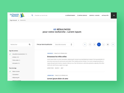 Charente Maritime — Search liste minimal pages results filter webdesign institutional header corporate
