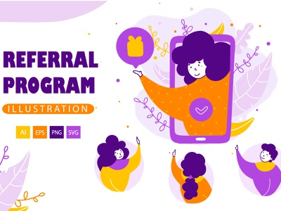 Referral program - Cartoon Illustrations share recommend internet group loyalty business mobile earn flat phone invite vector illustration program money refer friend concept vreferral doctor