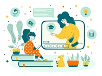 Online education back sitting tutor creative child study chat student technology internet science learning laptop online education vector flat kid computer school