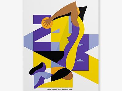 Kobe 24/8 design style vector illustration minimal design digital illustration sport illustration nike basketball stefano marra artwork illustrated poster kobe bryant