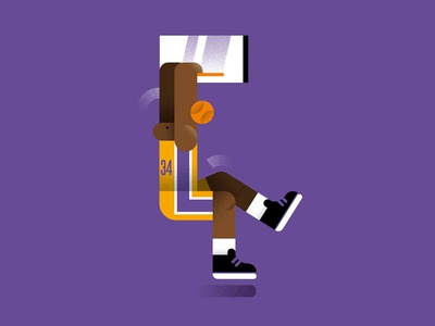 one of the greatest: Shaq editorial sports graphicdesign palette lakers basketball illustration nba shaq