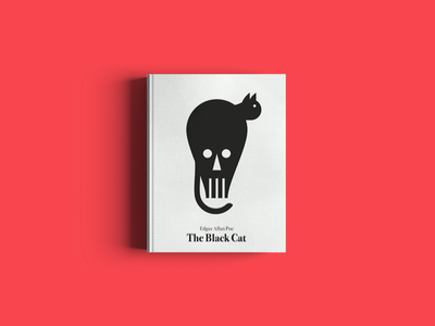 The black cat. An imaginary book cover. editorial publishers book cover artwork stefanomarra illustrations skull white black readers cover book