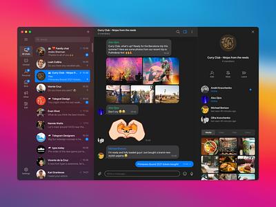 Telegram macOS Big Sur - Dark Mode redesign big sur macos messenger interface redesign telegram dark theme dark app dark ui dark mode desktop ui design ux ux design