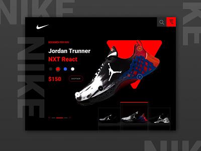 Nike Jordan Trunner NXT React Landing Page web website webdesign ux design ux ui design ui shoes quick sketch nike jordan trunner nike jordan nike landing page landing page design figma design consept clean branding