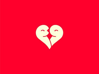 Kissin' Doves dove illustraion flat design kiss love logo