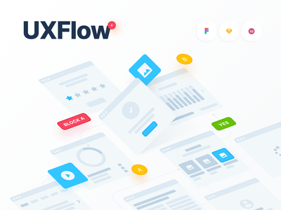 UXFlow Wireframe Prototyping System free freebie flow ux design system prototyping wireframe mobile web xd figma sketch tools flowcharts ux