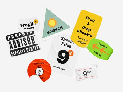 WPRCH - Sticker Mockup Pack sketch figma photoshop sticker pack sticker mockup stickers mockups