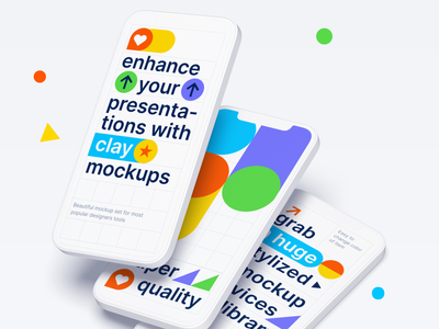 Clay Mockups 2.0 uidesign presentation web tablet mobile andriod imac ipad iphone devices photoshop sketch figma freebies mockup clay