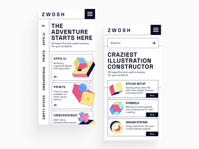 Zwosh Illustration Constructor brutalism shapes abstraction characters patterns posters empty states onboarding landing branding app design uidesign xd ai sketch figma constructor pack illustrations vector