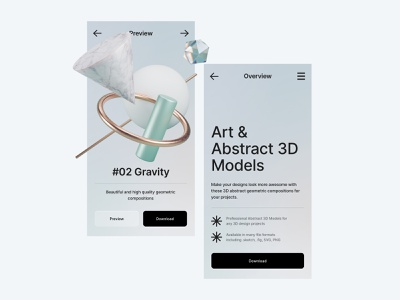 Bzzzt. ⚡️ Free collection of 3D abstractions png psd sketch figma 3d art illustration branding ui apps web colors render clean freebie abstraction geometric