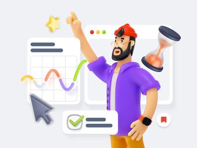 Blaaamm! 🎳3D Illustration Constructor figma sketch ui app 3d icon set landing website illustration pack constructor illustration 3d