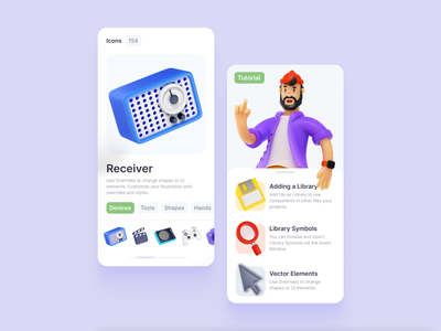 Blaaamm! 🎳 3D Illustration Constructor ui design sketch figma onboarding tutorial overview swipe gallery interface app 3d illustrations illustration constructor 3d 3d icon