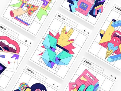 Zwosh 🍭 Illustration Constructor vector illustration crazy figma sketch branding poster design ui app landing website pack constructor illustration