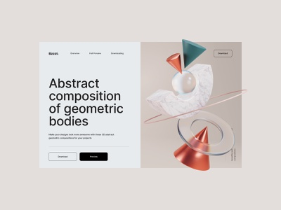 Bzzzt. ⚡️ Free Collection of 3D Abstractions brutalism branding graphic design freebies composition abstract 3d hero web landing