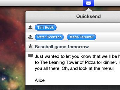 QuickSend mail quick send email gmail apple mail mac os app osx lion lightweight menubar application