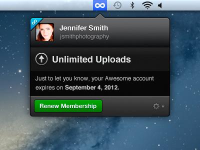 500px Uploader mac app lion menubar
