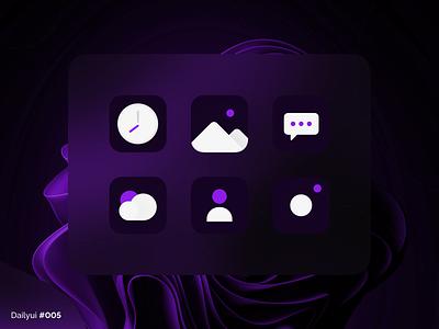 App icon camera message contact weather gallery clock 005 dailyui daily ui application app icon app icon design ux ui