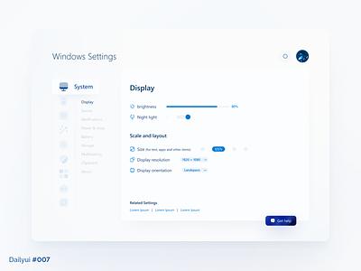 Windows Settings dailyui daily ui desktop ui design design milad farahmand mil windows 10 windows 11 settings windows ux 007 daily ui 007 ui