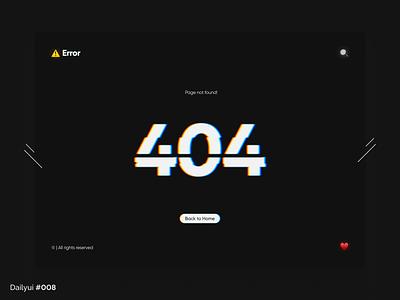 404 Page dark error web glitch ux design milad farahmand ui 008 daily ui 404 page 404