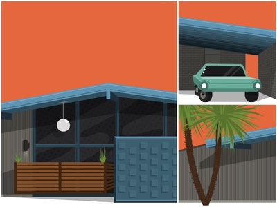 Mid Century House midcentury retro vintage eames 1960s blue orange teal mid century