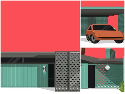 Mid Century House midcentury retro vintage eames 1960s pink orange teal mid century