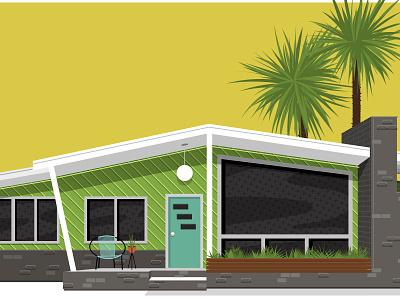 Mid Century House 1970 1960 vintage palm trees yellow teal green eames eichler retro midcentury mid century