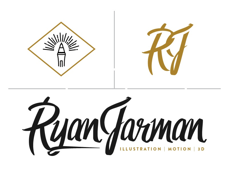 Ryan Jarman Branding name custom font drawn hand logo brand