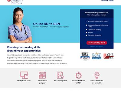 Duquesne Online Nursing Landing Page lead form stroke icons landing page pay per click bootstrap leads nursing hero conversion lp school education