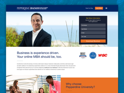 Pepperdine's Online MBA conversion bootstrap lead form education mba pepperdine landing page seo university
