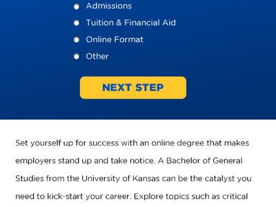 The University of Kansas online Bachelor of General Studies bootstrap website education conversion lead form landing page pay per click ppc