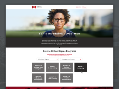 Maryville University Online degree type selector footer lead form online education apply now hero user experience ux university web design bootstrap