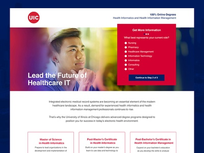 University of Illinois at Chicago Landing Page mobile first optimization seo conversion bootstrap wordpress ui ux lead form landing page