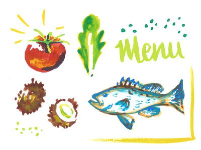 Julie & Xavier wedding menu charleston watercolor coconuts grouper fish lettuce tomato icons hand painted eat menu wedding