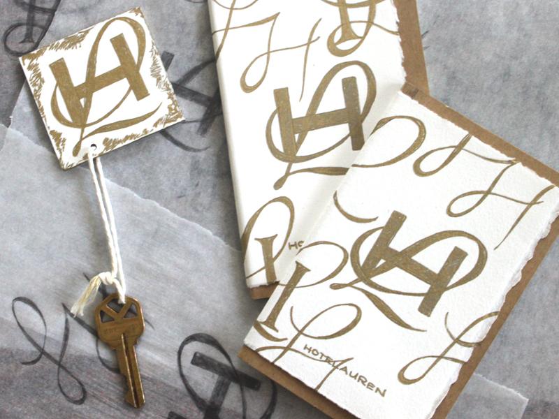 Hotel Lauren $wag notebooks branding logo hotel process sketch typography handlettering script l h monogram