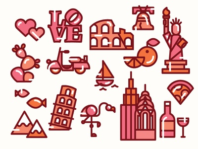 Travel Icons wine miami rome vespa flamingo italy philadelphia liberty bell new york city map travel icons
