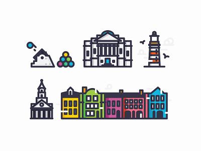 Charleston Travel Icons, pt. I church gibbes museum morris island folly beach the battery rainbow row icon design icon charleston