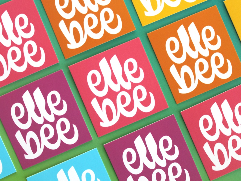 elle bee pt.VI rainbow square moo business cards illustration script lettering script icon lettering logo branding