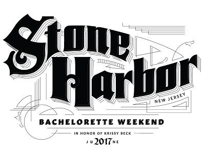 Stone Harbor type design lettering sanborn maps wedding bachelorette new jersey stone harbor