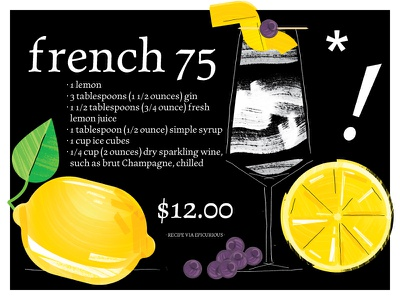 French 75 blueberries french 75 lemon cookbook cocktail recipe type design type
