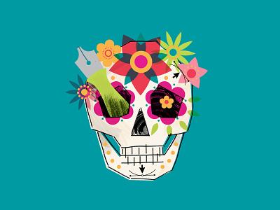 Shhhh pt.4 flowers design pen skull halloween illustration