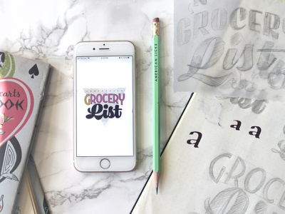 Good Eats & Treats vintage grocery list groceries type design type lettering stickers imessage stickers imessage