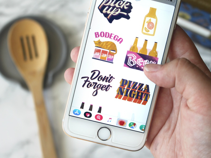 Good Eats & Treats, pt. 2 pizza orange juice bodega beer grocery list groceries recipe illustration script lettering lettering