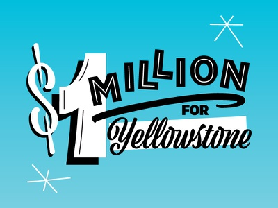 $1 Million for Yellowstone figures numerals typography yellowstone graphic campaign