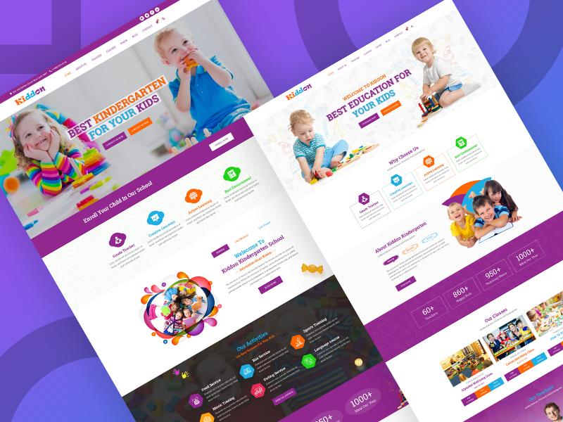 kiddon - kindergarten & preschool PSD Templates flat photoshop ux ui website design typography illustration education preschool kids kindergarten