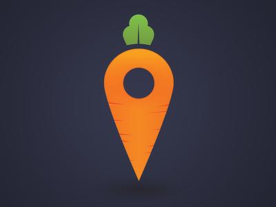 Karrot Icon brand pin location logo android ios carrot icon app